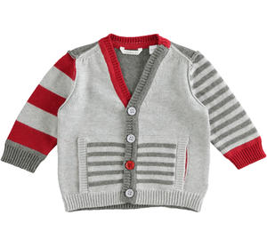 Newborn baby cotton and wool blend tricot cardigan GREY
