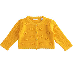 Cotton, viscose and cashmere blend cardigan for baby girl with little bows on tone YELLOW