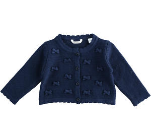 Cotton, viscose and cashmere blend cardigan for baby girl with little bows on tone BLUE