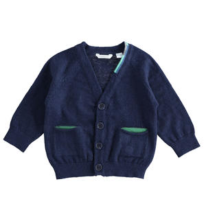 Newborn boy cardigan with pockets BLUE