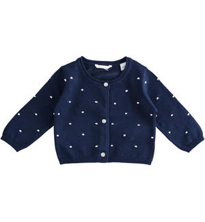 Rebecca 100% cotton cardigan for baby girl with all over embossed stitch BLUE
