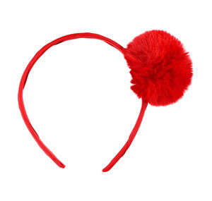 Headband with a faux fur pompom RED