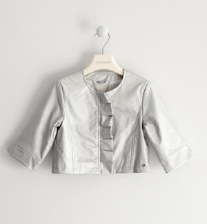 Faux leather jacket with pearl effect GREY