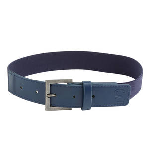 Elastic belt with faux leather ends BLUE