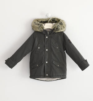 Classic parka Sarabanda lined in very warm faux fur GREY