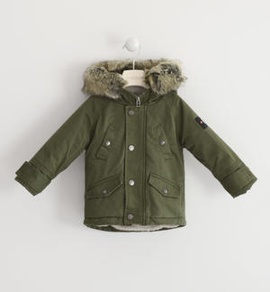 Classic parka Sarabanda lined in very warm faux fur GREEN