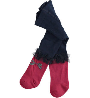 Two-tone stretch cotton blend newborn girl tights with ruffles RED