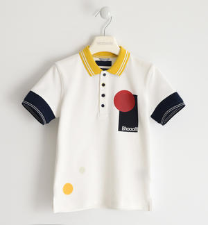 Coloured polo shirt in stretch pique WHITE