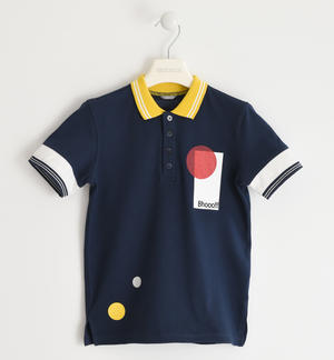 Coloured polo shirt in stretch pique BLUE