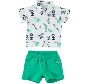 Colourful Summer outfit 100% cotton for baby boy GREEN