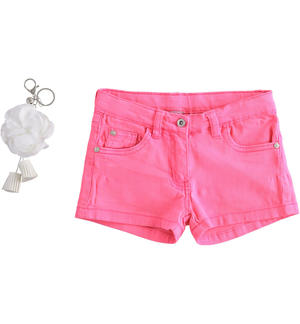 Coloured twill shorts with key ring FUCHSIA