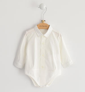 Comfortable stretch poplin body shirt for newborn baby CREAM