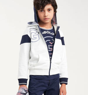 Boy's 100% cotton comfy sweatshirt with double hood WHITE