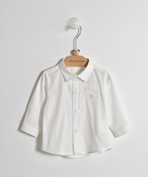 Comfortable and versatile cotton blend baby boy shirt WHITE
