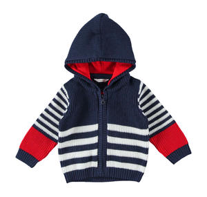 Comfortable and versatile full zip sweatshirt for baby boy BLUE