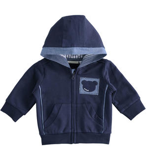 Comfortable full zip hooded 100% cotton sweatshirt for newborn boy BLUE