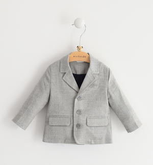 Comfortable newborn jacket of stretch viscose blend fabric GREY