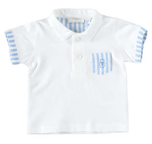 Comfortable half sleeve polo shirt 100% cotton for baby boy LIGHT BLUE