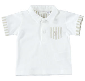 Comfortable half sleeve polo shirt 100% cotton for baby boy BEIGE