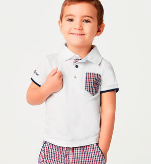 Boy¿s comfy short-sleeved 100% cotton polo shirt WHITE