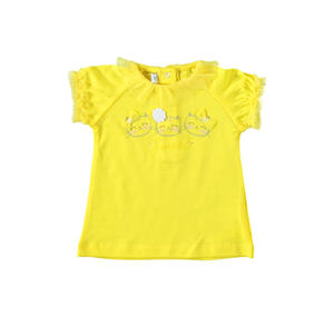 Comfortable 100% cotton baby girl t-shirt with tulle collar polka dot embroidery YELLOW
