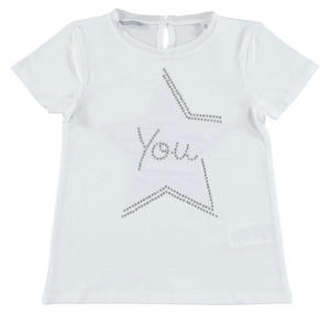 Comfortable stretch cotton t-shirt with star for girls WHITE
