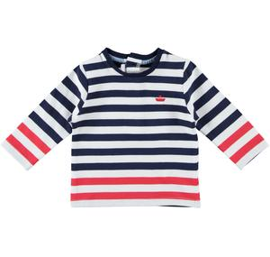 Comfortable cotton crew neck t-shirt with long sleeves for baby boy BLUE