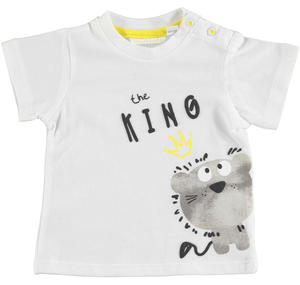 Comfortable 100% cotton baby boy t-shirt with round neck WHITE