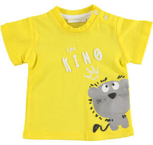 Comfortable 100% cotton baby boy t-shirt with round neck YELLOW