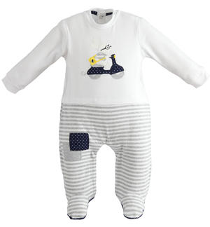 Comfortable cotton baby boy onesie with collar and feet
