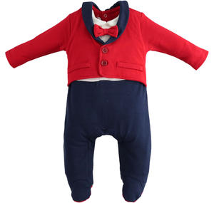 "Onesie entirely made of fleece and characterized by the ""double"" effect RED"