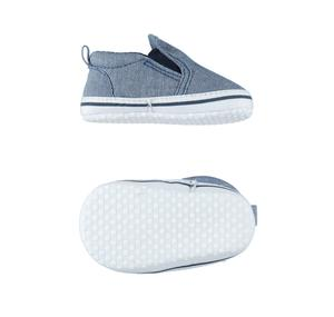 Comfortable baby boy shoes in cotton blend denim slip on pattern BLUE