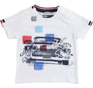 Comfortable 100% cotton t-shirt with a stylish print WHITE