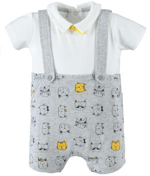 Comfortable cotton romper suit with straps and kittens GREY