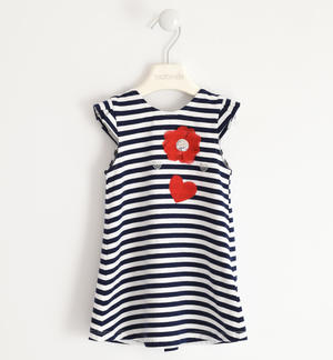 Comfortable striped patterned dress BLUE