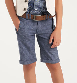 Comfortable baby boy Bermuda shorts in linen, viscose and cotton blend fabric BLUE