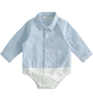 Comfortable shirt-style baby boy bodysuit BLUE