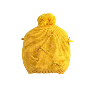 Comfortable tricot hat for baby girl with yarn pom-pom and bows YELLOW