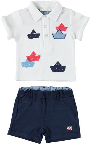 Comfortable two-piece outfit baby boy for the Summer 100% cotton BLUE