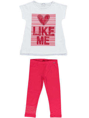 Comfortable flared t-shirt outfit with lace embroidery for girls RED