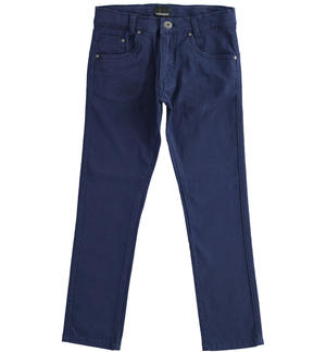 Comfortable and classic slim fit twill trousers BLUE