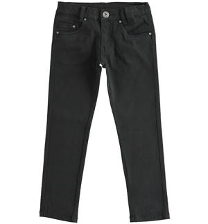 Comfortable and classic slim fit twill trousers BLACK