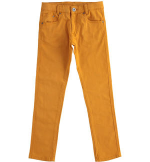 Comfortable and classic slim fit twill trousers YELLOW