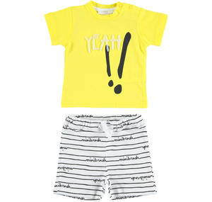 Comfortable and colourful 100% cotton baby boy outfit YELLOW