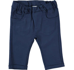 Comfortable cotton baby boy trousers BLUE
