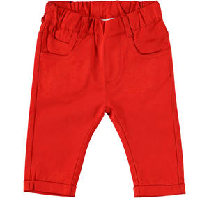 Comfortable cotton baby boy trousers RED