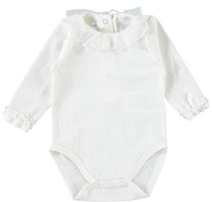 Comfortable and practical baby girl long sleeve body in stretch cotton CREAM