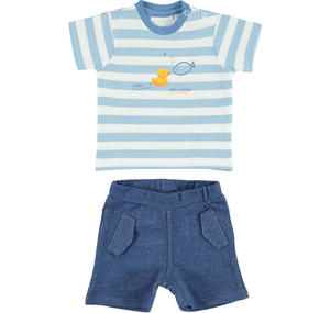 Comfortable and practical cotton outfit with little duck and fish BLUE