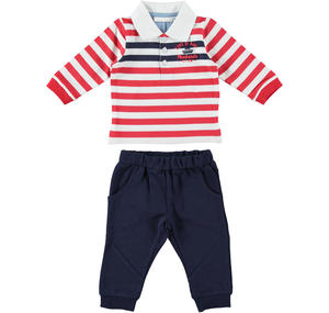 Comfortable and practical two-piece outfit for baby boy in cotton BLUE