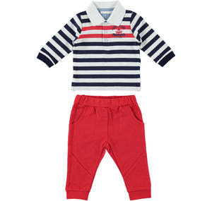 Comfortable and practical two-piece outfit for baby boy in cotton RED